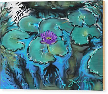 Wood Print featuring the painting Largo Waterlilies by Jean Pacheco Ravinski