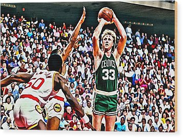 Larry Bird Wood Print by Florian Rodarte
