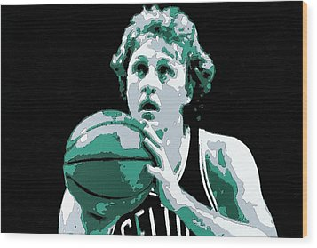 Larry Bird Poster Art Wood Print