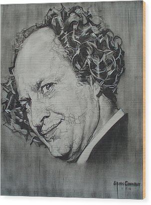 Larry Fine Of The Three Stooges - Where's Your Dignity? Wood Print by Sean Connolly