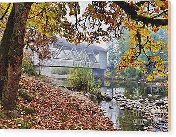 Larwood Covered Bridge Wood Print