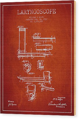 Laryngoscope Patent From 1937  - Red Wood Print by Aged Pixel