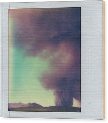 Las Conchas Fire On Instant Film Wood Print