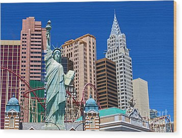 Las Vegas - New York Wood Print by Gregory Dyer