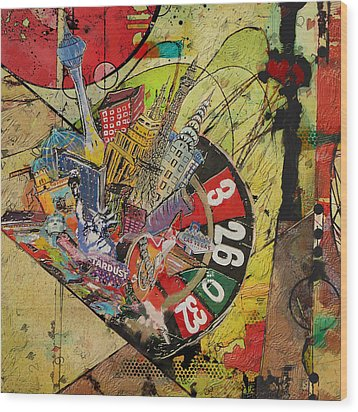 Las Vegas Collage Wood Print by Corporate Art Task Force