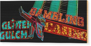 Las Vegas Neon Signs Fremont Street  Wood Print by Amy Cicconi