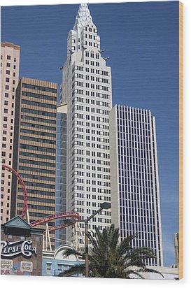 Las Vegas - New York New York Casino - 12125 Wood Print by DC Photographer
