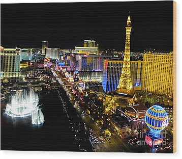 Las Vegas Night Life Wood Print by Kip Krause