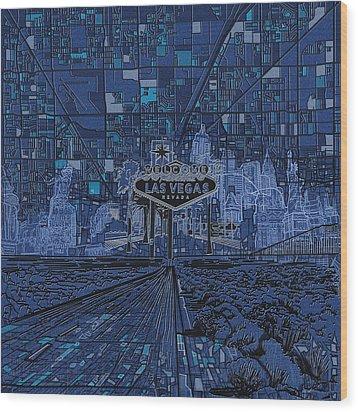 Las Vegas Skyline Wood Print by Bekim Art