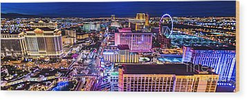 Las Vegas Strip North View 3 To 1 Aspect Ratio Wood Print