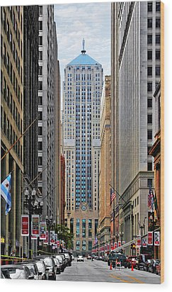 Lasalle Street Chicago - Wall Street Of The Midwest Wood Print by Christine Till
