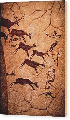 Lascaux Stag Hunting Wood Print by Asok Mukhopadhyay