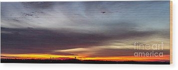 Last 2012 Sunrise Panoramic Wood Print by Michael Waters