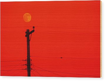 Red Moon Rising Wood Print by See My  Photos