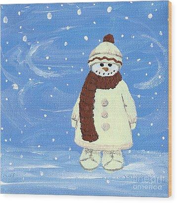 Last Decoration Snowman Wood Print by Lynn Babineau