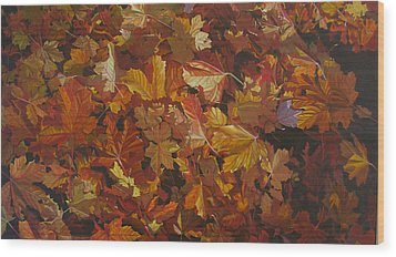 Wood Print featuring the painting Last Fall In Monroe by Thu Nguyen