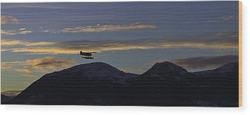 Wood Print featuring the pyrography Last Flight Of The Day. by Timothy Latta