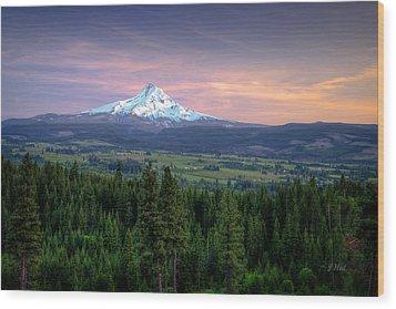 Last Light On Mt. Hood Wood Print by Joe Hudspeth