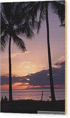 Last Of The Sun On Maui Wood Print