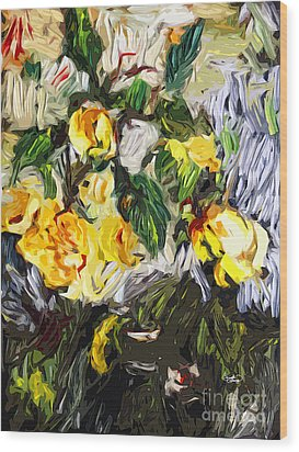 Last Of The Yellow Roses Wood Print by Ginette Callaway