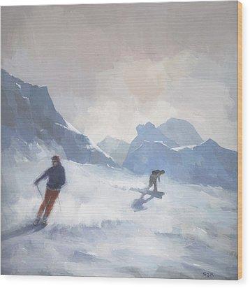 Last Run Les Arcs Wood Print by Steve Mitchell