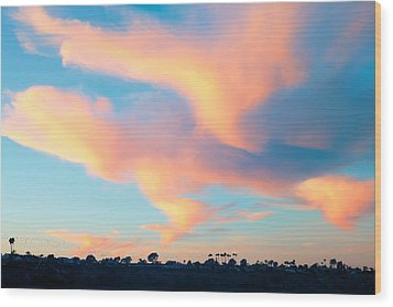 Fiery Sunset And Lenticular Cirrus Clouds - Newport Beach Backbay California Wood Print