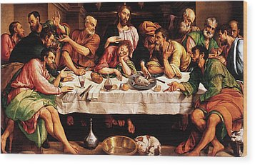 Last Supper Wood Print by Jacopo Bassano