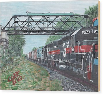 Last Train Under The Bridge Wood Print by Cliff Wilson