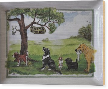 Last Tree Dogs Waiting In Line Wood Print