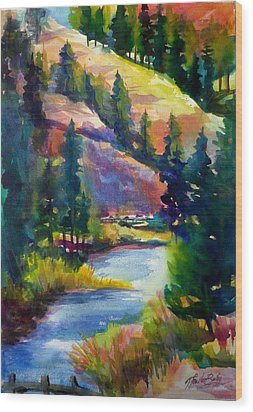 Last View Of The Truckee  Original Sold Wood Print by Therese Fowler-Bailey