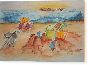 Late Afternoon Beach Wood Print