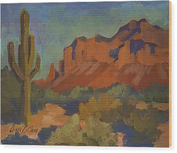 Late Afternoon Light At Superstition Mountain Wood Print by Diane McClary