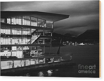 late evening at the Vancouver convention centre west building on burrard inlet BC Canada Wood Print by Joe Fox