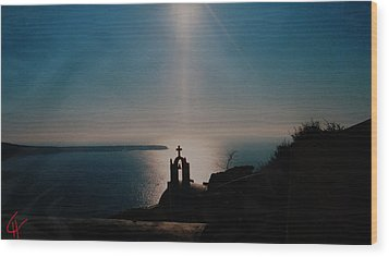 Late Evening Meditation On Santorini Island Greece Wood Print