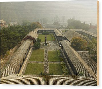 Wood Print featuring the photograph Late Morning Fog At The Great Wall  by Lucinda Walter