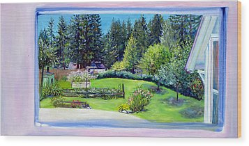 Wood Print featuring the painting Late Spring Yard With Redwoods And Apple Trees by Asha Carolyn Young