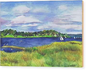 Late Summer Marsh Oyster Bay Wood Print by Susan Herbst