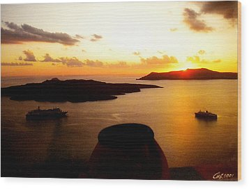 Late Sunset Santorini  Island Greece Wood Print