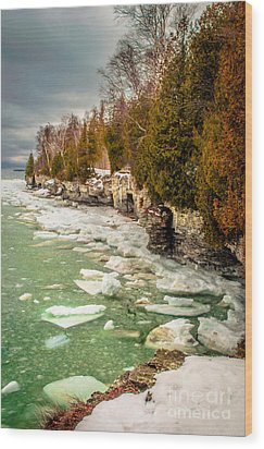 Wood Print featuring the photograph Late Winter At Cave Point by Mark David Zahn