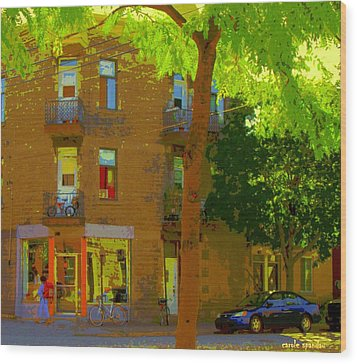 L'atelier Boutique Rue Clark And Fairmount Art Of Montreal Street Scene In Summer By Carole Spandau  Wood Print by Carole Spandau