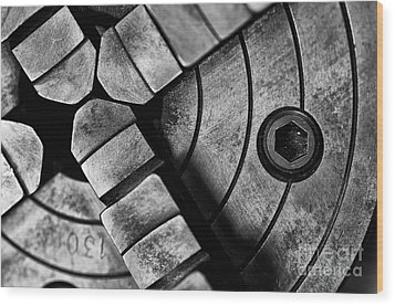 Lathe Chuck Black And White Wood Print by Wilma  Birdwell