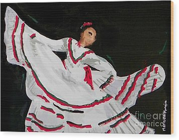 Wood Print featuring the painting Latin Dancer by Marisela Mungia