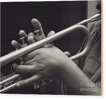 Latin Trumpet Wood Print