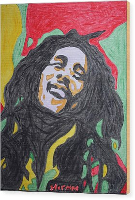 Happy Bob Marley  Wood Print by Stormm Bradshaw