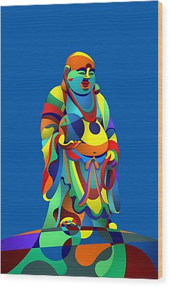 Laughing Buddha Blue Wood Print