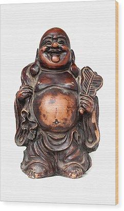 Laughing Buddha Wood Print by Fabrizio Troiani