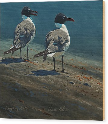Laughing Gulls Wood Print by Aaron Blaise