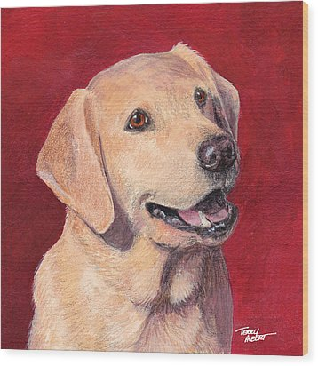 Laughing Labrador Wood Print