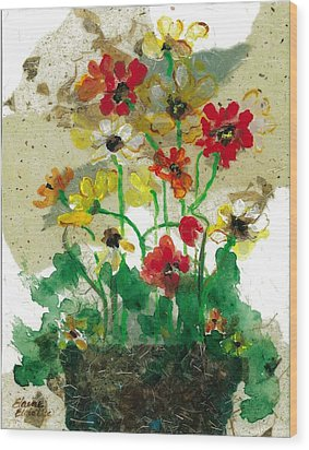 Wood Print featuring the painting Laughing Poppies by Elaine Elliott