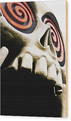 Laughing Skull - Little Five Points Wood Print by Mark E Tisdale